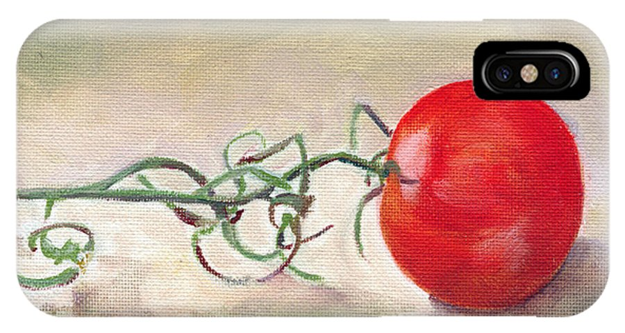 Food IPhone X Case featuring the painting Hot-house Tomato by Sarah Lynch