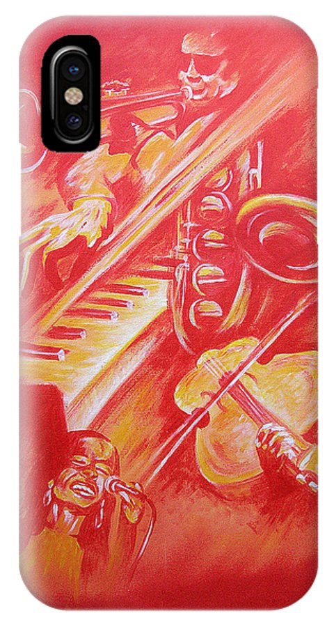 Jazz Music Instruments Singing Acrylic Canvas IPhone X Case featuring the painting Hot Jazz by Shaun McNicholas