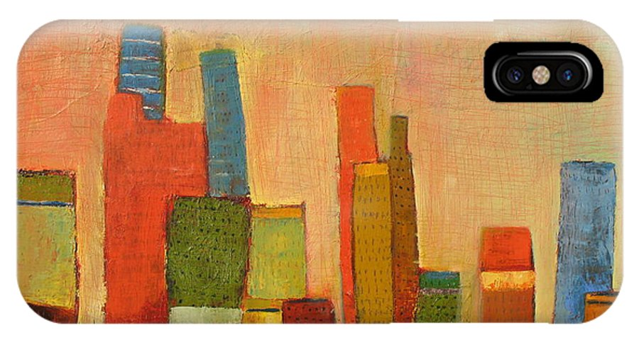 Abstract Cityscape IPhone Case featuring the painting Hot Manhattan by Habib Ayat