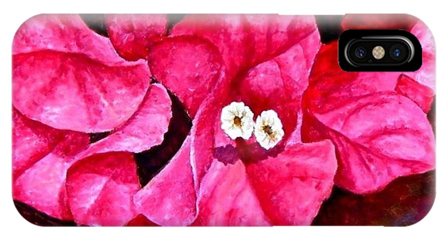 Oil IPhone Case featuring the painting Hot Pink Bougainvillea by Darla Brock