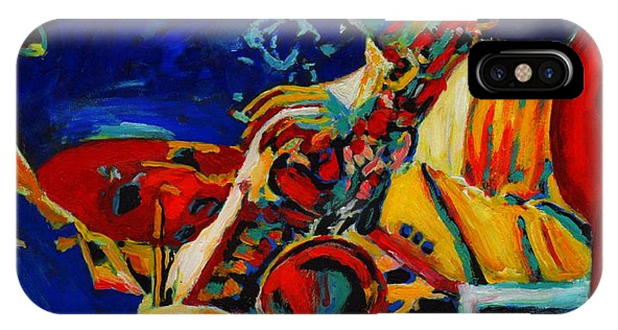 Blues IPhone X Case featuring the painting Hot Sax by Vel Verrept