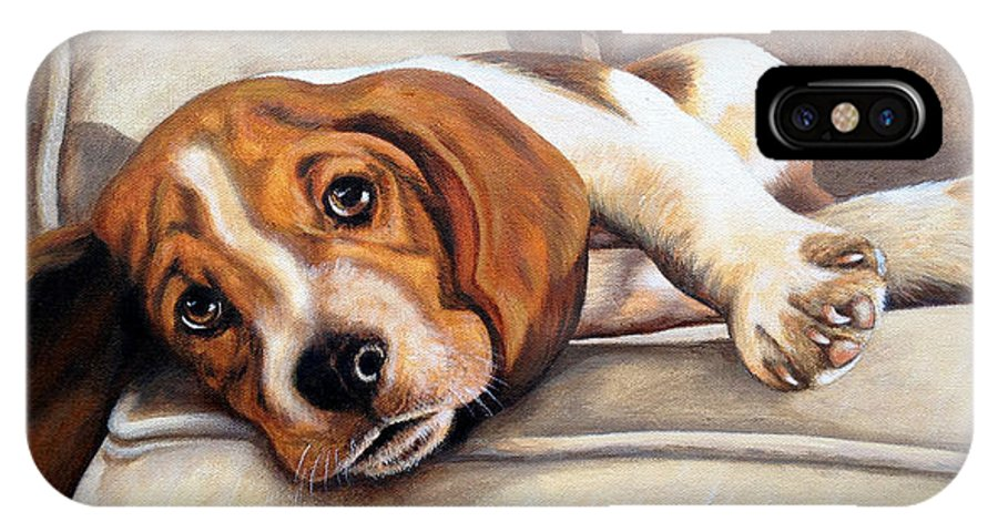 Hound IPhone X Case featuring the painting Hound Dog by Glenda Stevens