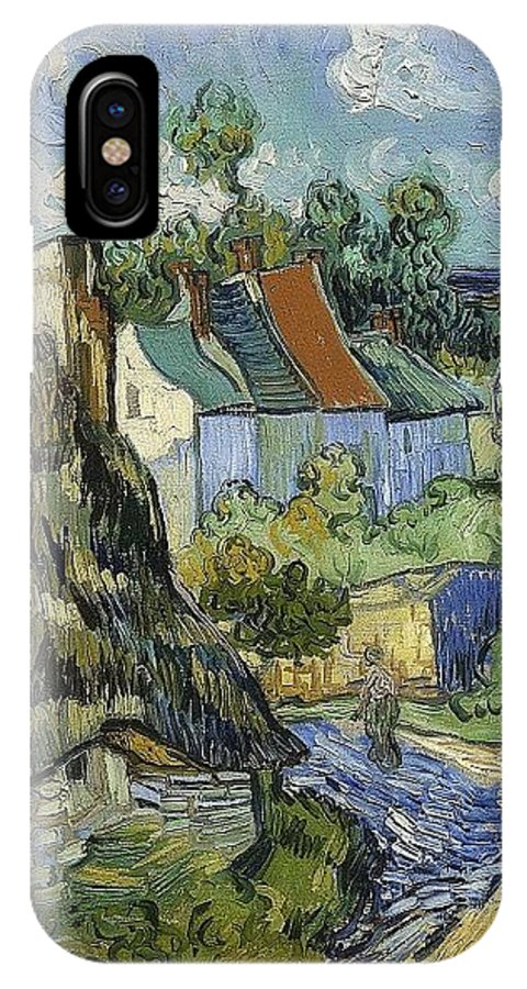 Houses In Auvers IPhone X Case featuring the digital art Houses In Auvers by Mery Moon