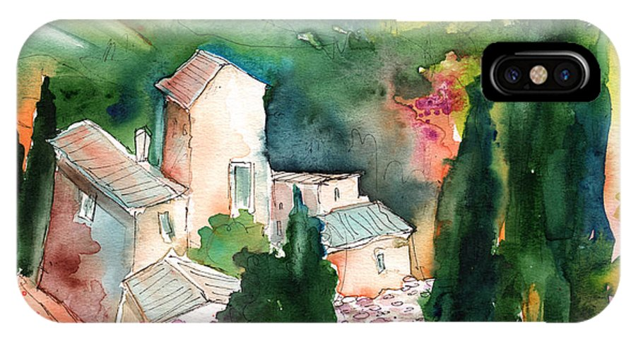 Landscapes IPhone X Case featuring the painting Houses In Montepulciano In Tuscany 01 by Miki De Goodaboom