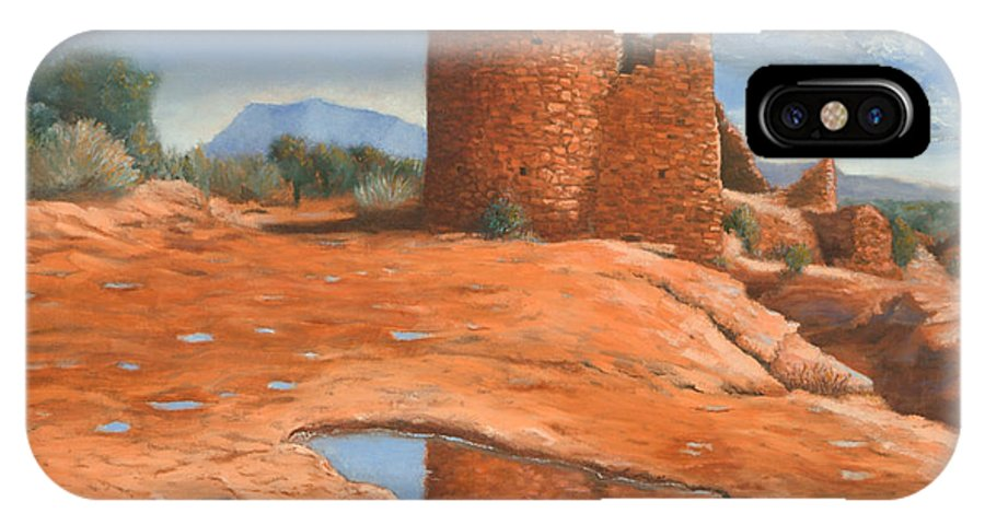Anasazi IPhone X Case featuring the painting Hovenweep Reflection by Jerry McElroy