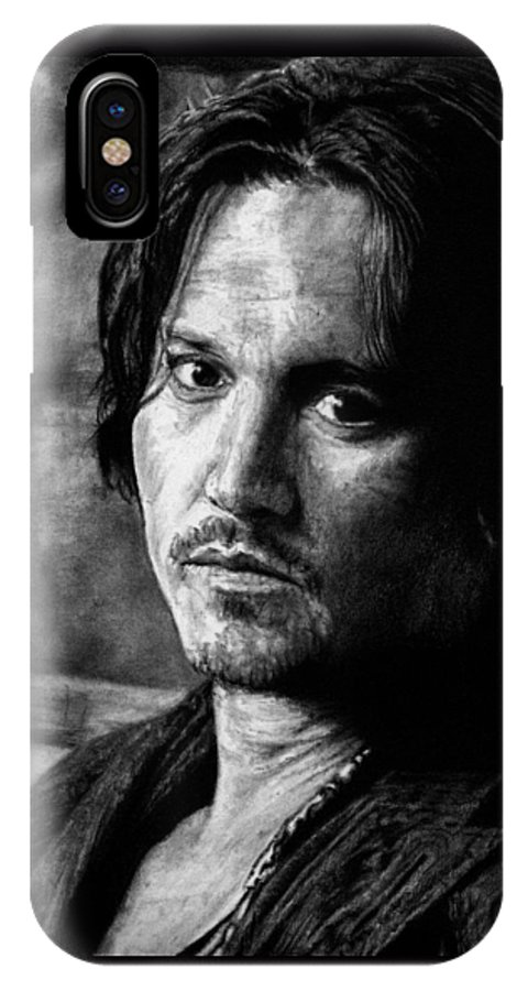 Johnny Depp Man Pirate Actor Hollywood Bullshit Public Blow Sexy Beautiful Hot Chocolate Portrait Feeling IPhone X Case featuring the drawing How Does It Feel by Priscilla Vogelbacher