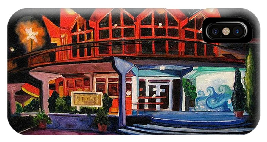 Asbury Art IPhone Case featuring the painting Howard Johnsons At Night by Patricia Arroyo