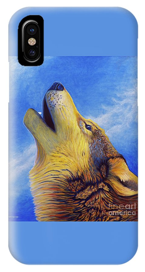 Wolf IPhone X Case featuring the painting Howl by Brian Commerford