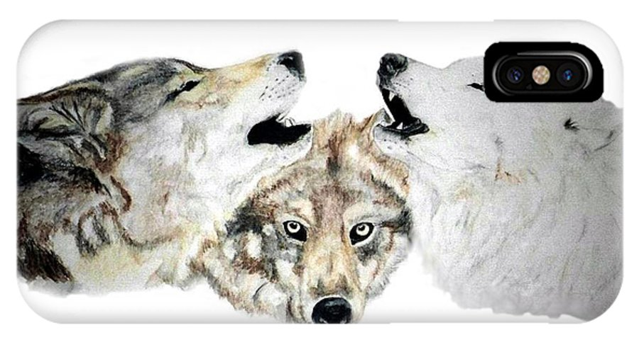 Wolves IPhone X / XS Case featuring the painting Howling by Debra Sandstrom