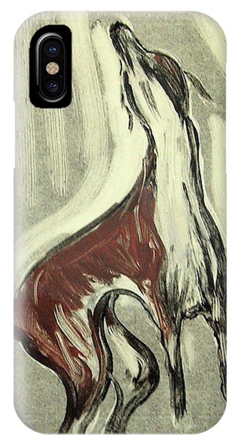 Monotype IPhone X Case featuring the mixed media Howling For Joy by Cori Solomon