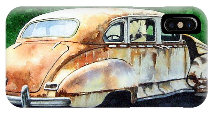 Hudson Car Rust Restore IPhone X Case featuring the painting Hudson Waiting For A New Start by Ron Morrison