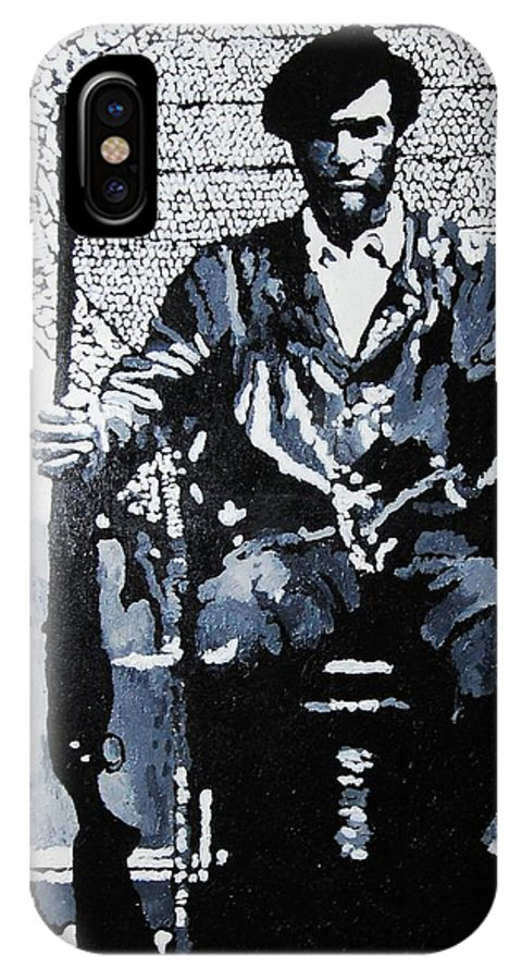 Black Panther IPhone X Case featuring the painting Huey Newton Minister Of Defense Black Panther Party by Lauren Luna