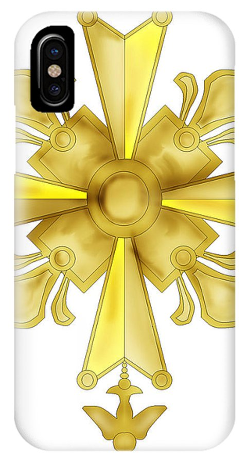 Christian Cross IPhone X Case featuring the painting Huguenot Golden Cross by Anne Norskog