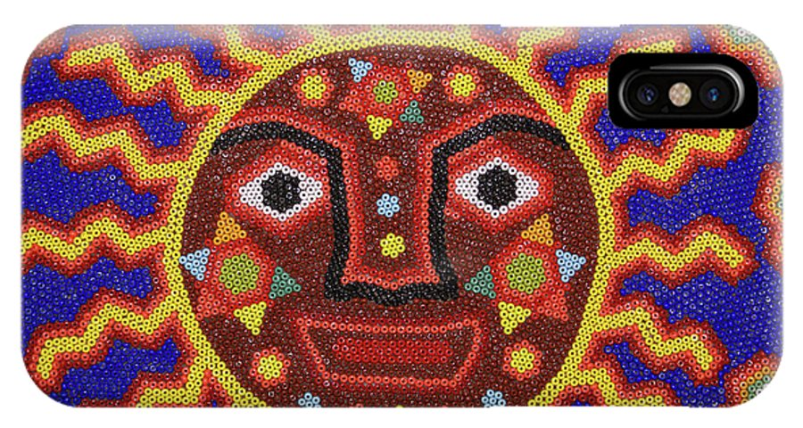 Mexico IPhone X Case featuring the photograph Huichol Beadwork Sun Mexico by John Mitchell