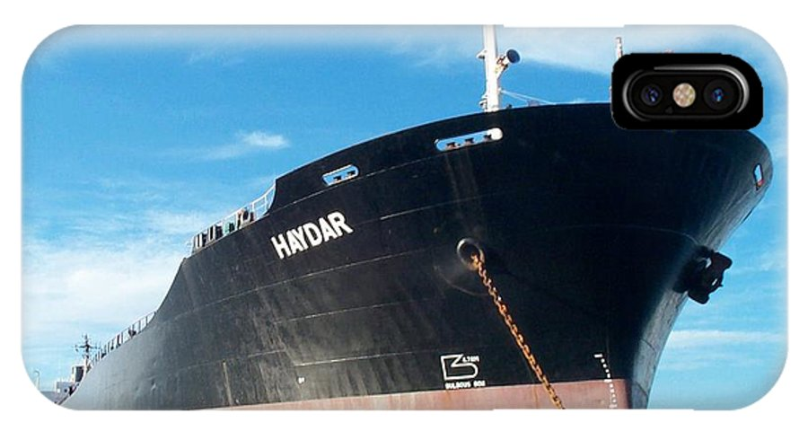 Hull IPhone X Case featuring the photograph Hull Of Vessel Haydar At Anchor by Alan Espasandin