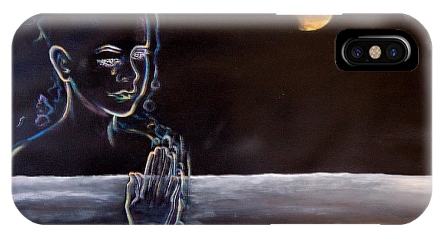 Moon IPhone X Case featuring the painting Human Spirit Moonscape by Susan Moore
