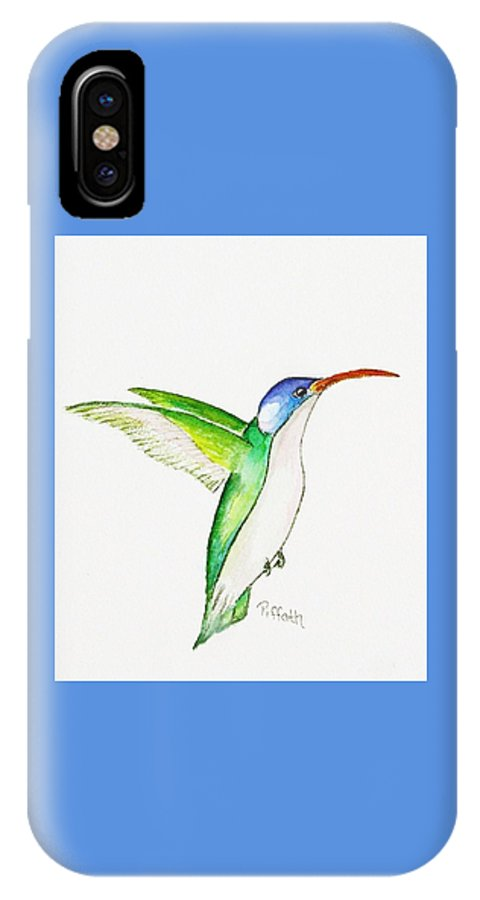 Hummingbird IPhone X Case featuring the painting Hummer by Patricia Piffath