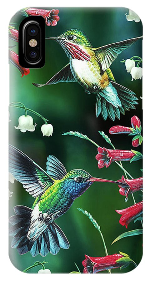 Humming Bird IPhone X Case featuring the painting Humming Birds 2 by JQ Licensing