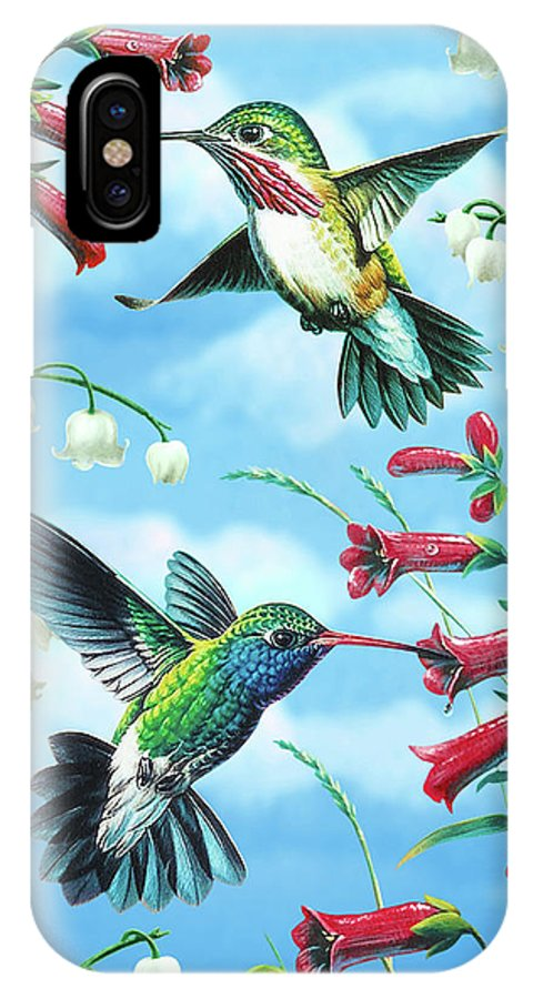 Hummingbird IPhone X Case featuring the painting Humming Birds by JQ Licensing