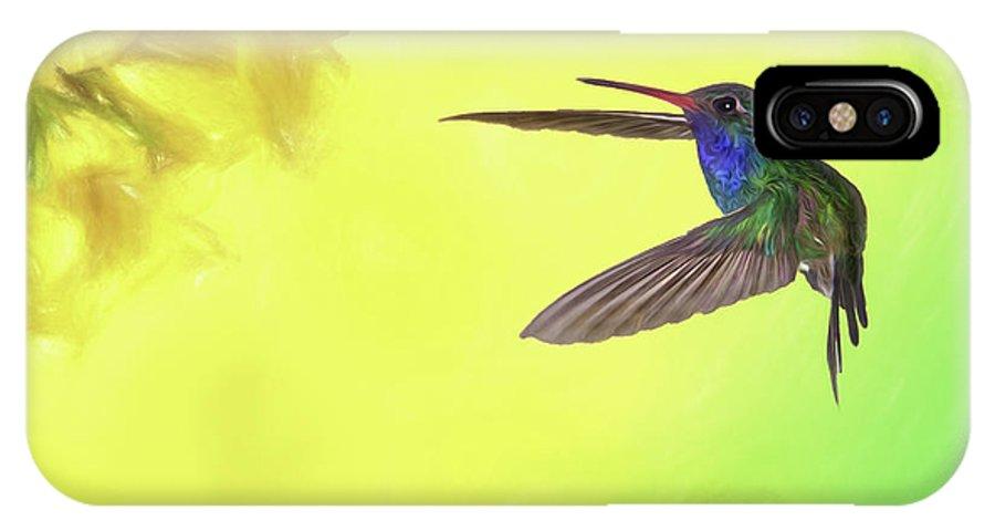 Approach IPhone X Case featuring the photograph Hummingbird Approach by Janet Fikar