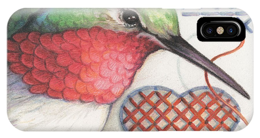 Hummingbird IPhone X Case featuring the drawing Hummingbird Handiwork by Amy S Turner