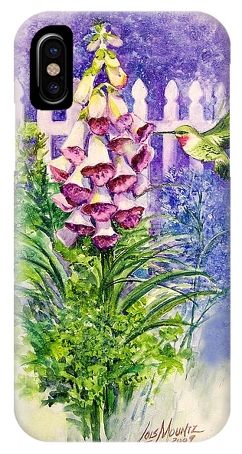Bird;hummingbird;foxgloves;flowers;floral;fence;picket Fence;impressionistic;watercolor;painting; IPhone X Case featuring the painting Hummingbird In Foxgloves by Lois Mountz