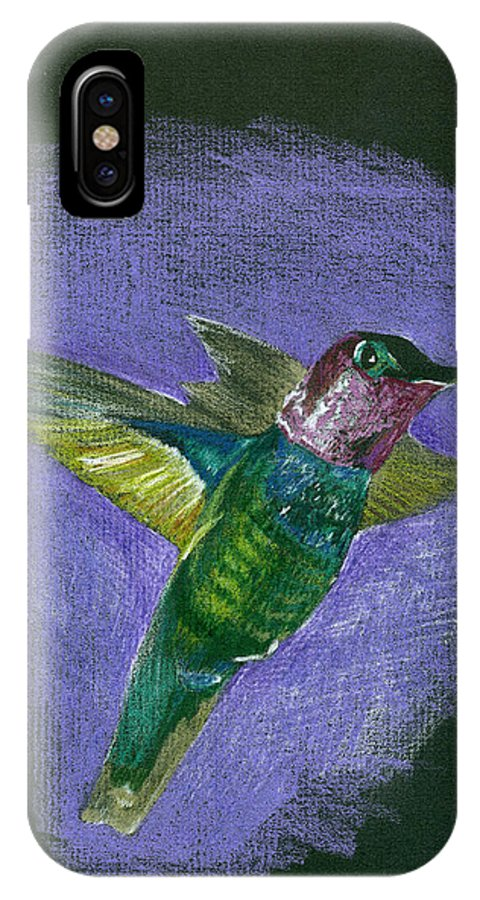 Bird IPhone X / XS Case featuring the drawing Hummingbird by Mary Tuomi