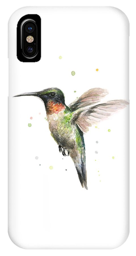 Animal IPhone X Case featuring the painting Hummingbird by Olga Shvartsur