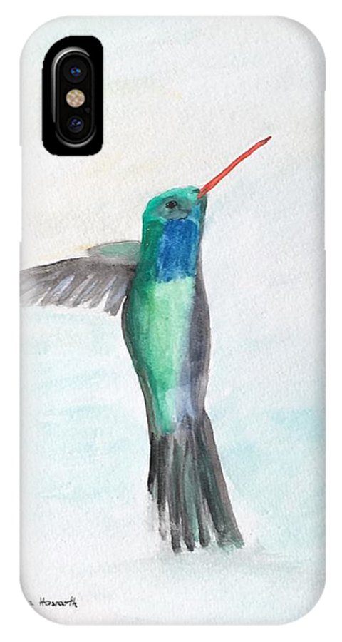 Hummingbird IPhone X Case featuring the painting Hummingbird Painting by Monika Howarth
