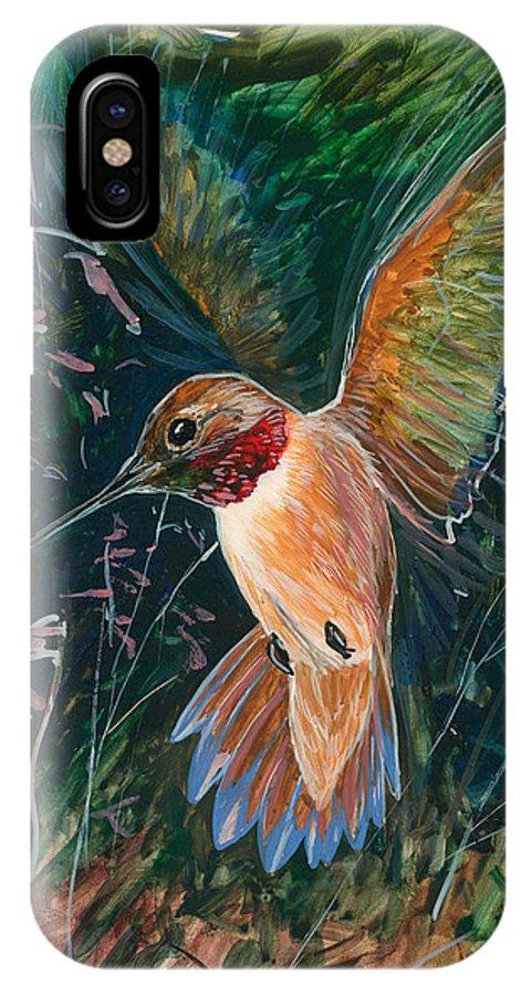 Hummingbird IPhone X Case featuring the painting Hummingbird by Shari Erickson