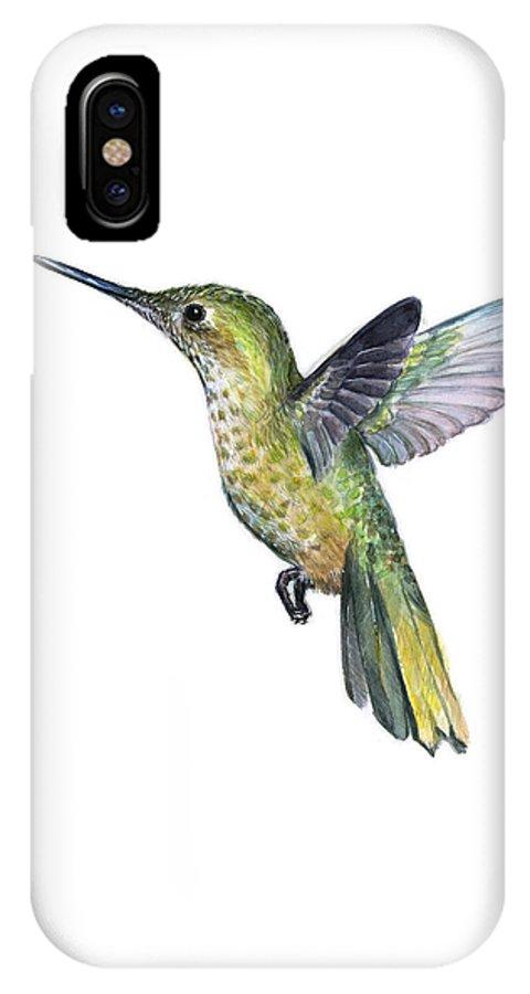 Hummingbird IPhone X Case featuring the painting Hummingbird Watercolor Illustration by Olga Shvartsur