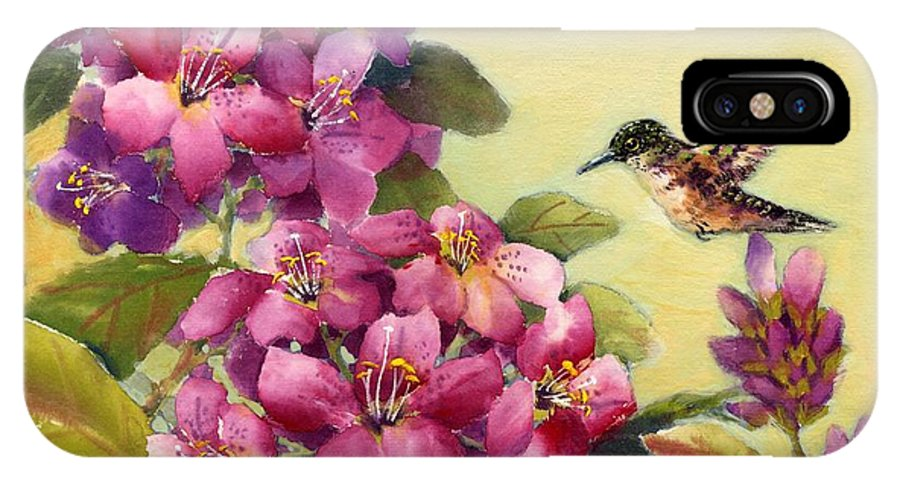 Broadtail Hummingbird IPhone Case featuring the painting Hummingbird With Rhododendron by Eileen Fong