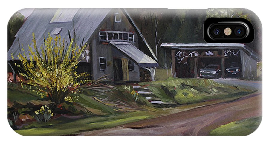 Spring IPhone X Case featuring the painting Humpals Barn by Nancy Griswold