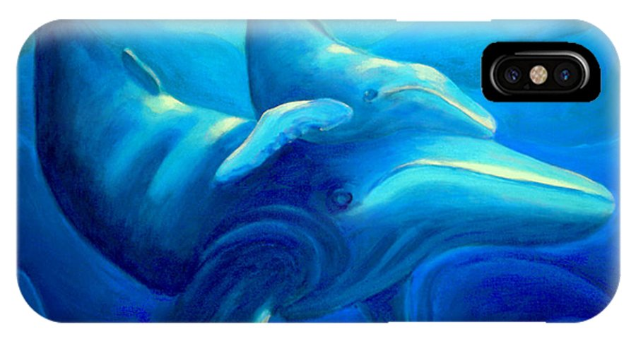 Seascape IPhone X Case featuring the painting Humpback with Calf by Lynn Soehner