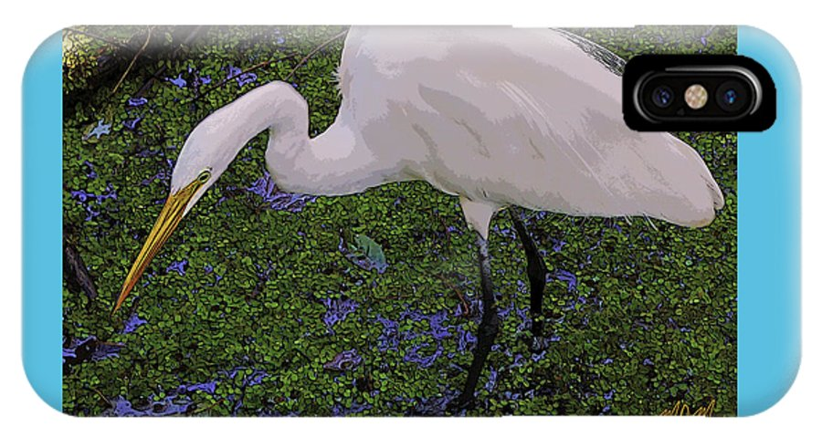 Bird IPhone X Case featuring the photograph Hungry Great Egret by Mike Mullins