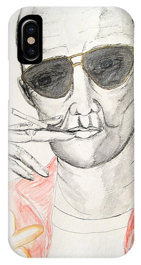 Hunter Thompson Gonzo Journalist Portrait Man Darkestartist Darkest Artist IPhone Case featuring the painting Hunter S. Thompson by Darkest Artist