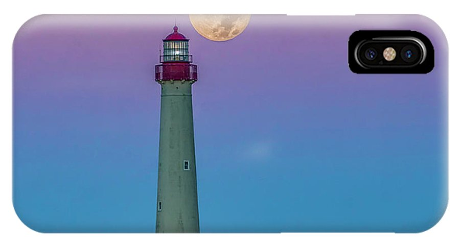 Moon IPhone X Case featuring the photograph Hunter's Moon Over Cape May Lighthouse by Nick Zelinsky