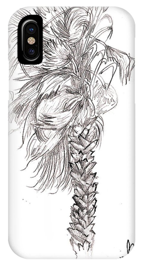 Palm IPhone X Case featuring the drawing Hurrracane Winds by Fanny Diaz