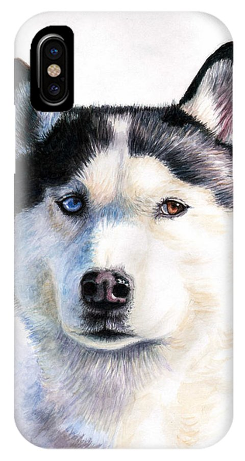 Dog IPhone Case featuring the painting Husky Blue by Nicole Zeug