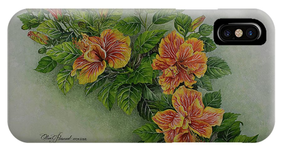 Watercolor IPhone X Case featuring the painting Hybrid Hibiscus by Olive Pascual
