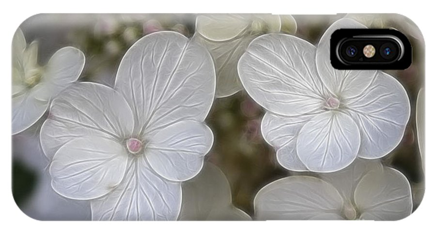Flowers IPhone X Case featuring the mixed media Hydrangea Fractalius by Deborah Benoit