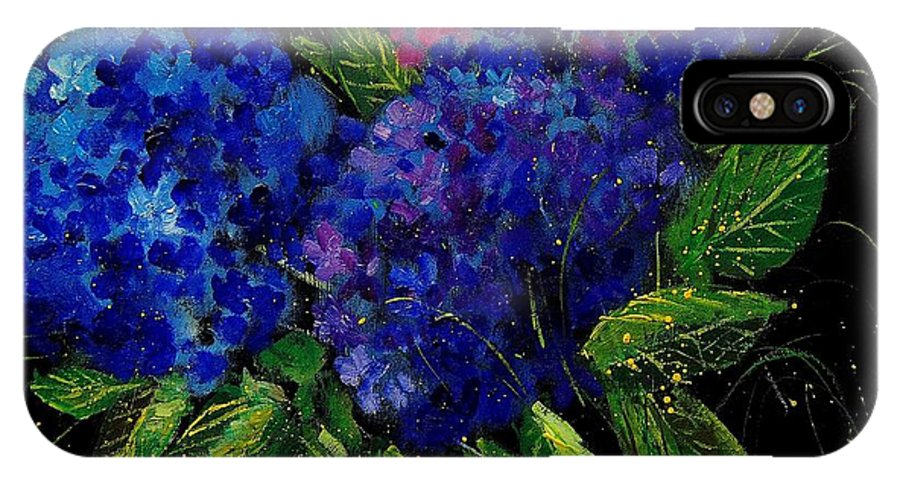 Flowers IPhone X Case featuring the painting Hydrangeas 66 by Pol Ledent