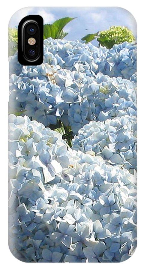 Blue Hydrangea IPhone X Case featuring the photograph Hydrangeas by Valerie Josi