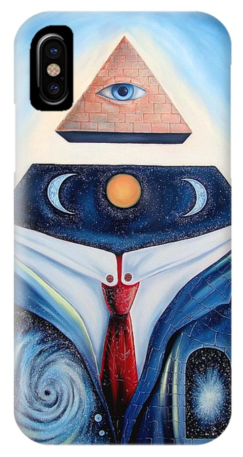 Surrealism IPhone X Case featuring the painting I Am by Darwin Leon