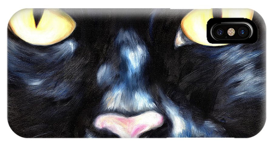 Black Cat IPhone X Case featuring the painting I Am Night by Hiroko Sakai