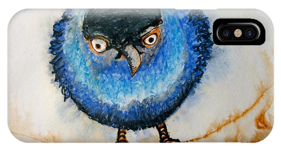 Birds IPhone X Case featuring the painting I Am Not Going To Take It Anymore. by Patricia Arroyo