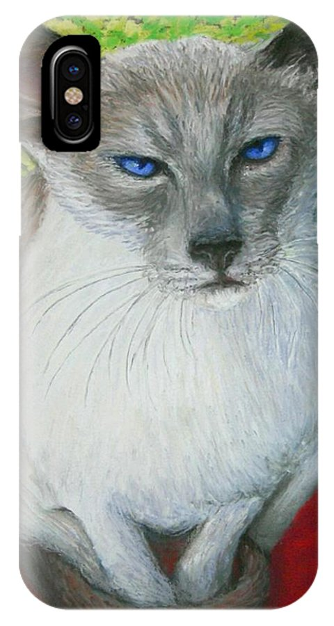 Siamese IPhone X Case featuring the painting I Am Siamese if you Please by Minaz Jantz