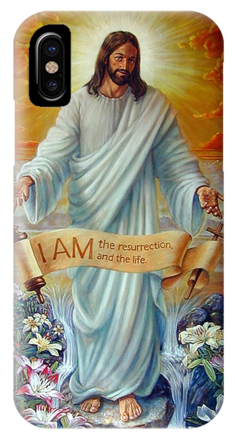 Jesus Christ IPhone X Case featuring the painting I Am The Resurrection by John Lautermilch