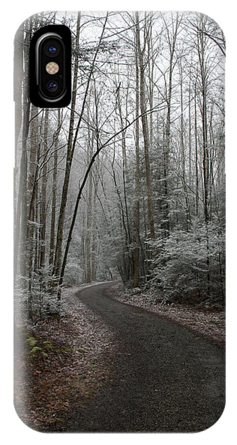 Nature Road Country Woods Forest Tree Trees Snow Winter Peaceful Quite Path White Forest Drive IPhone X Case featuring the photograph I Am The Way by Andrei Shliakhau