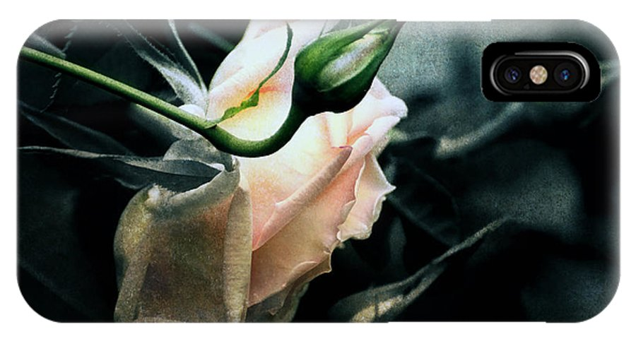Rose IPhone X Case featuring the digital art I Am Your Ghost Of A Rose by Georgiana Romanovna